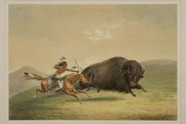 "George Catlin's ""Buffalo Hunt Chase"" is part of a rare set of prints that will be exhibited at the Briscoe Western Art Museum."