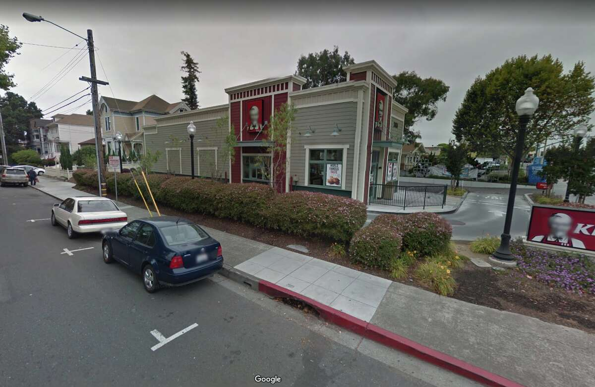 A Google Maps view of the KFC in Alameda before its new paint job. Click ahead to see Alameda County restaurant violations from the last year.
