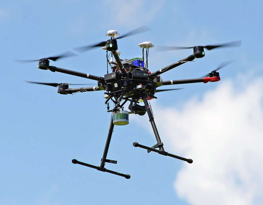 GE Global Research advanced robotics' Euclid aerial inspection system autonomous drone during a test flight Tuesday June 20, 2017 in Niskayuna, NY. (John Carl D'Annibale / Times Union)