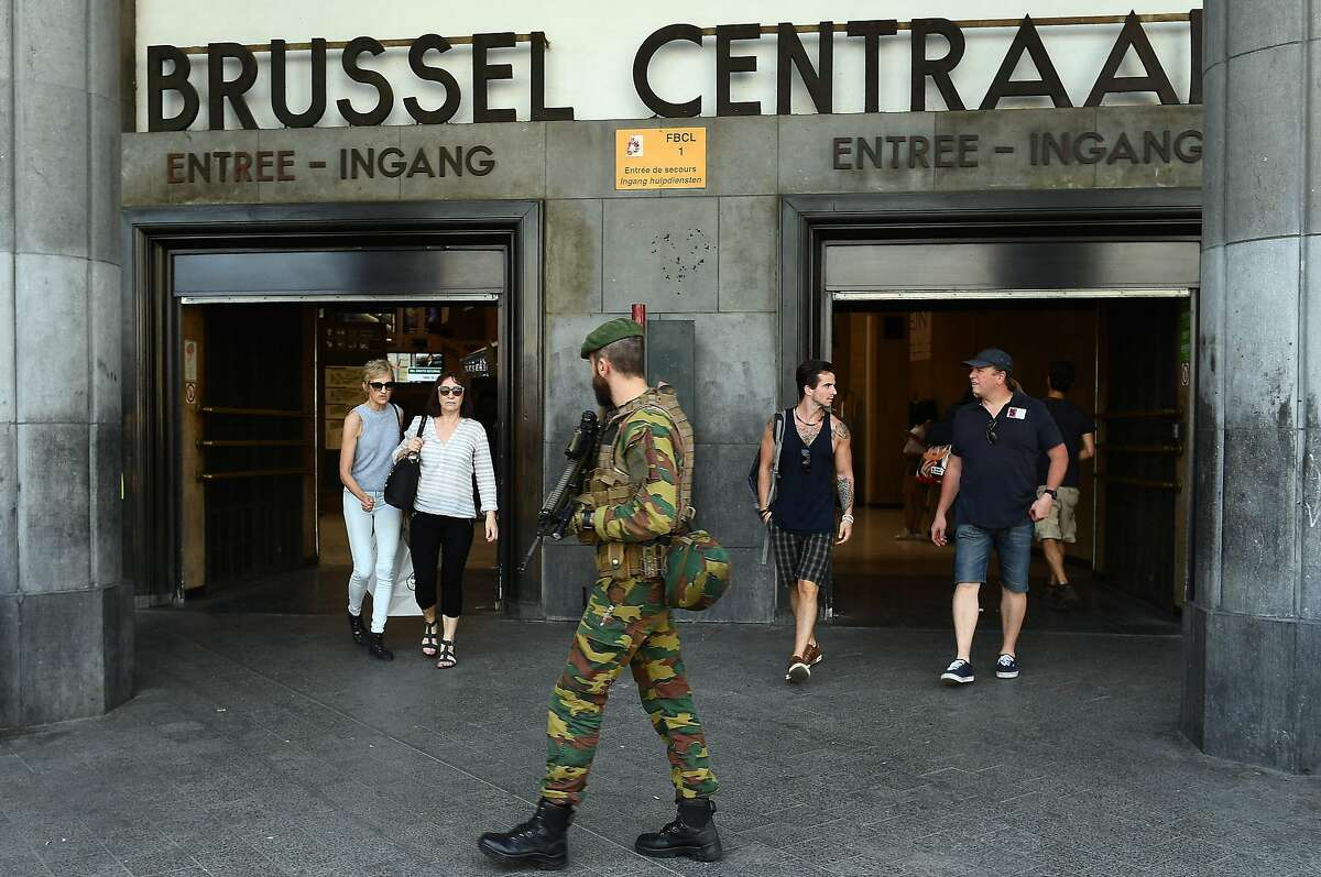 TOPSHOT - A Belgian army soldier patrols around the Central train station in Brussels on June 21, 2017 following a failed terrorist bomb attack a day earlier. The bomber killed by soldiers in a busy Brussels rail station was a 36-year-old Moroccan national, the federal prosecutor's office said. / AFP PHOTO / EMMANUEL DUNANDEMMANUEL DUNAND/AFP/Getty Images