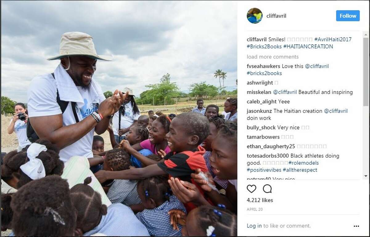 Seahawks defensive end Cliff Avril partnered with NFL playersMichael Bennett, Marshawn Lynch, Gosder Cherlius, Stephen Tulloch on a recent trip to Haiti to fund and help construct new homes and schools in the community.