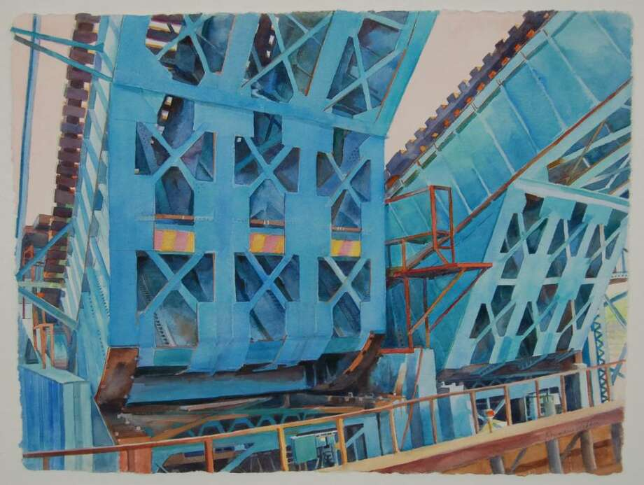 Bridge Up, A painting by Posy Webber. Photo: Helen Neafsey / Greenwich Time