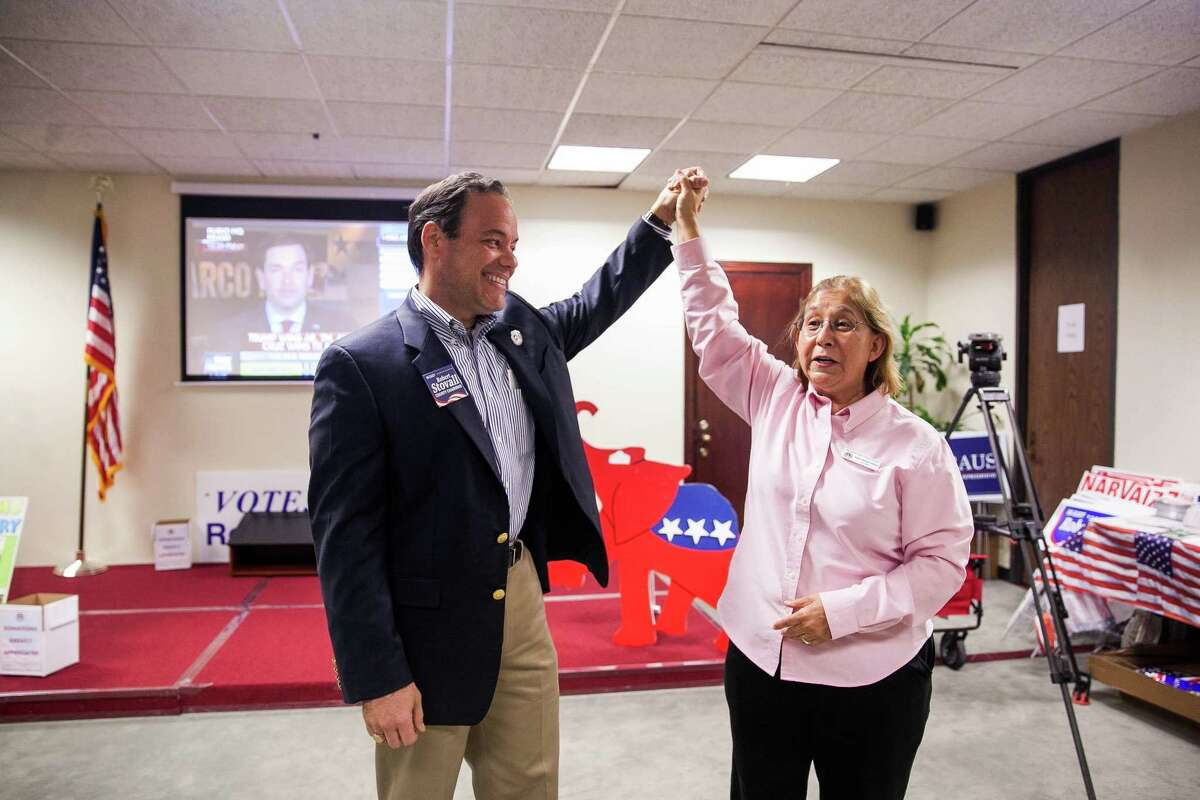 Anna Maria Farias, vice chair of the Republican Party of Bexar County, congratulates County Chairman Robert Stoval during a 2015 Republican watch party. President Donald Trump is nominating Farias to serve as the assistant secretary of fair housing and equal opportunity in his administration.