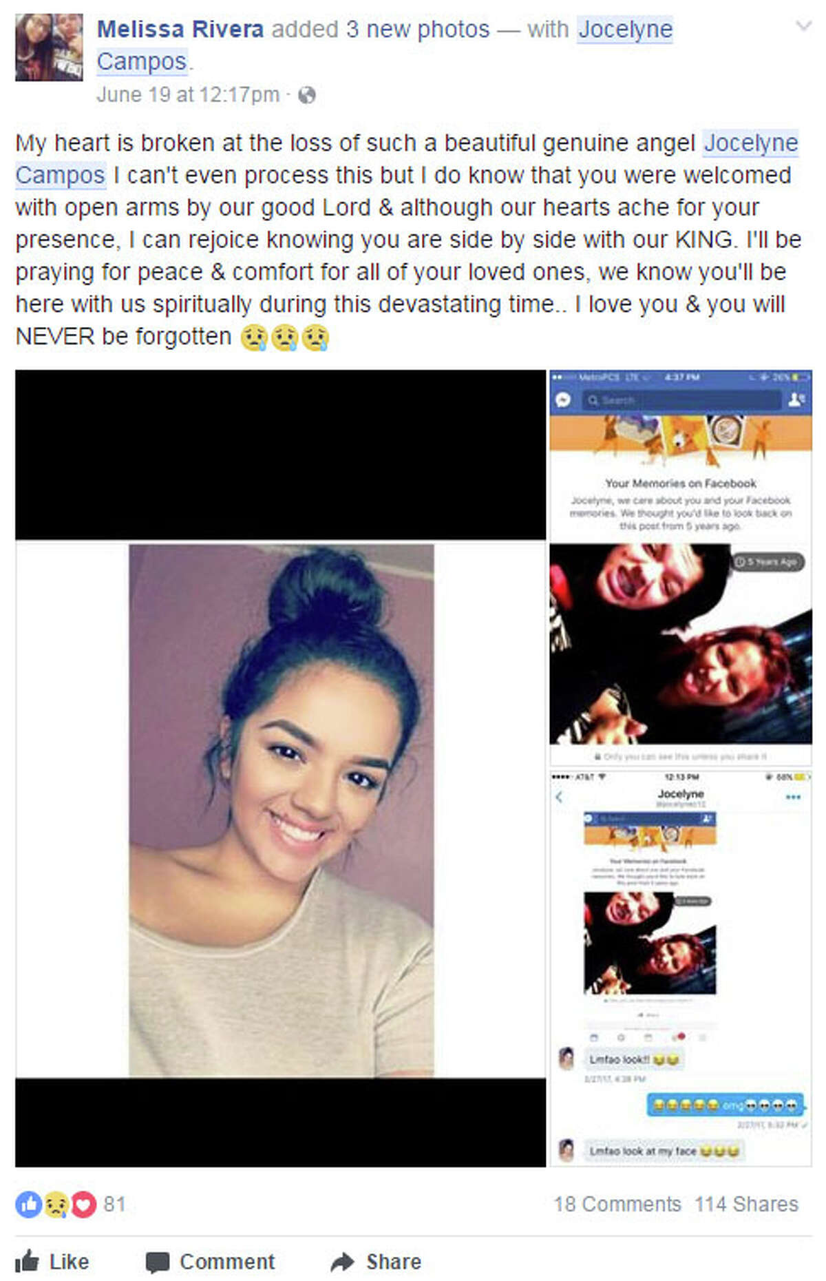 Friends and family mourn the loss of 19-year-old Jocelyne Campos who died after falling from a horse on Monday.