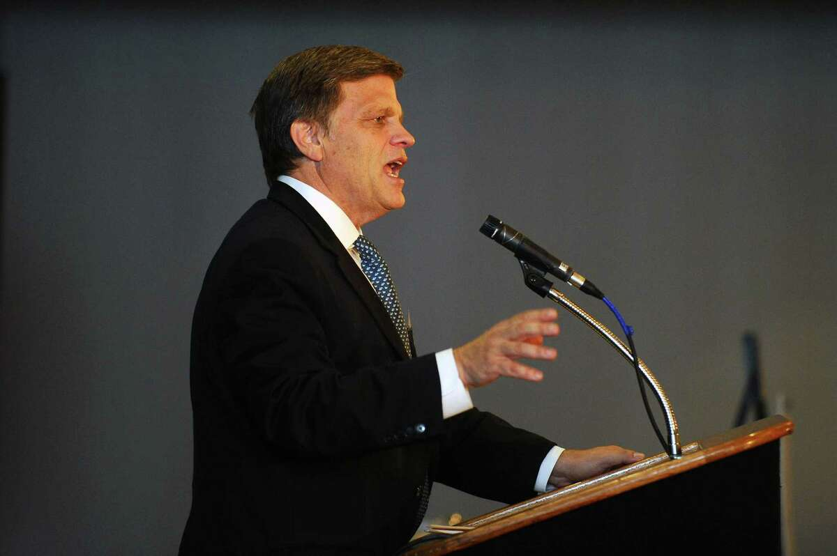 Presidential historian Douglas Brinkley gives the keynote speech during the UConn Risk Management Conference at the Crowne Plaza Stamford hotel in Stamford, Conn. on Wednesday, June 21, 2017.