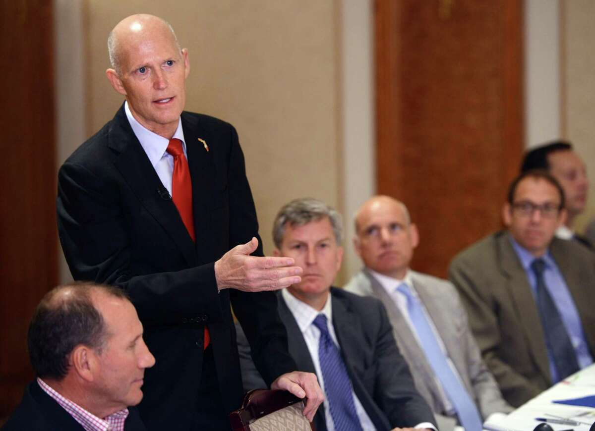 Gov. Rick Scott (R-Fla.) in June 2015 with Connecticut business owners, in Norwalk.