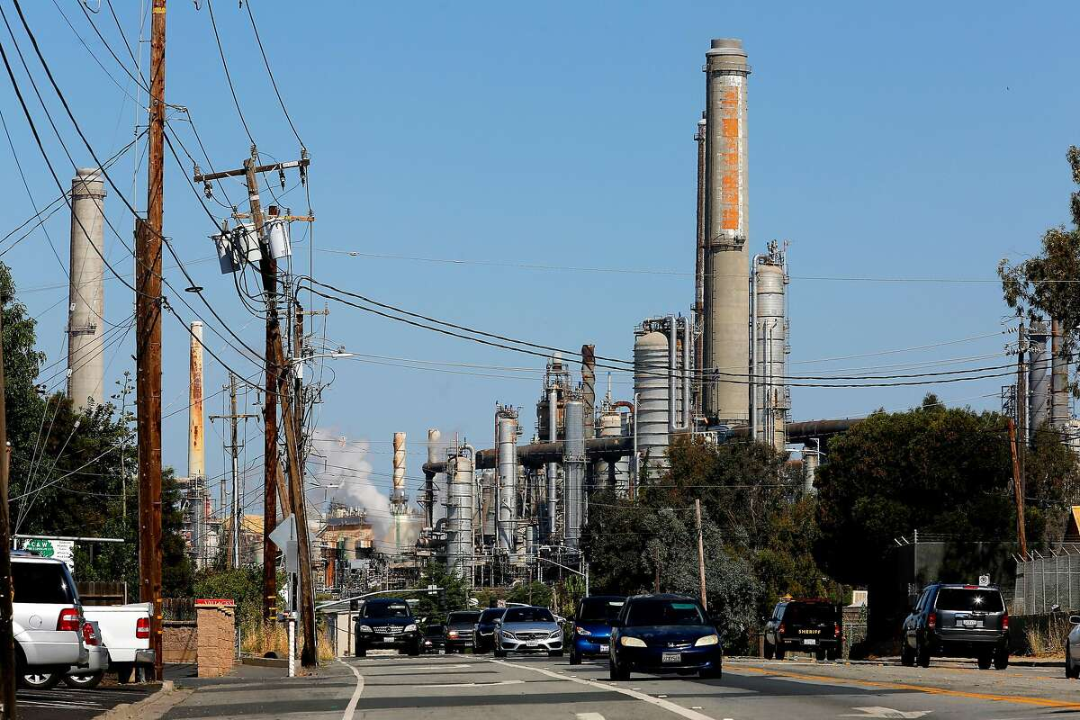 The Shell refinery in Martinez, Ca., as seen on Tuesday June 20, 2017, looking down Pacheco blvd. The Bay Area Air Quality Management District on Wednesday is expected to approve the nation's first limits on greenhouse gas emissions from oil refineries.