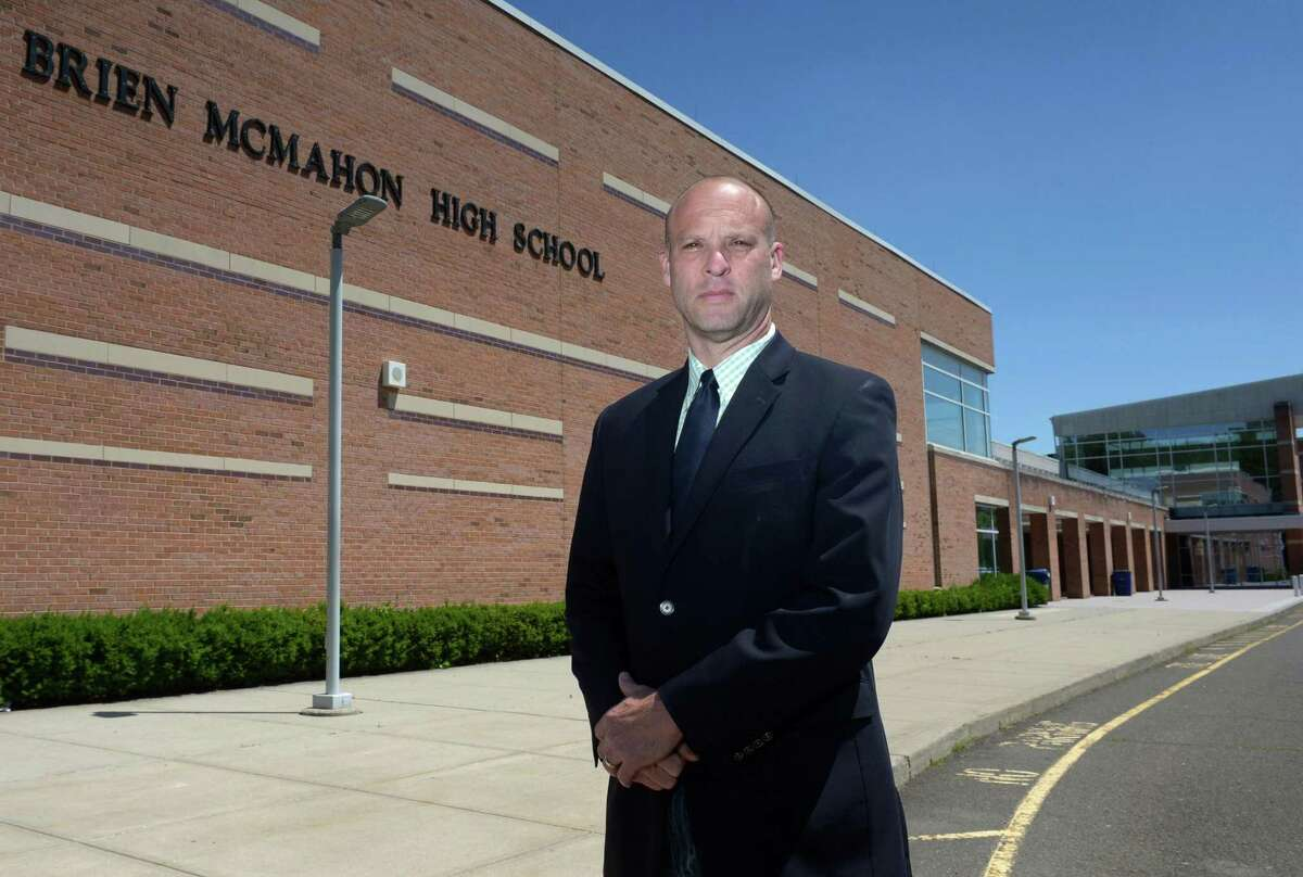 Brien McMahon High School Housemaster Scott Hurwitz at the school Wednesday, June 21, 2017, in Norwalk,Conn. The Norwalk Board of Education Tuesday evening approved the hiring of current Brien McMahon High School Housemaster Scott Hurwitz as the school?'s new principal. Hurwitz will replace longtime beloved school principal Suzanne Brown Koroshetz who is retiring after having held the position for a decade.