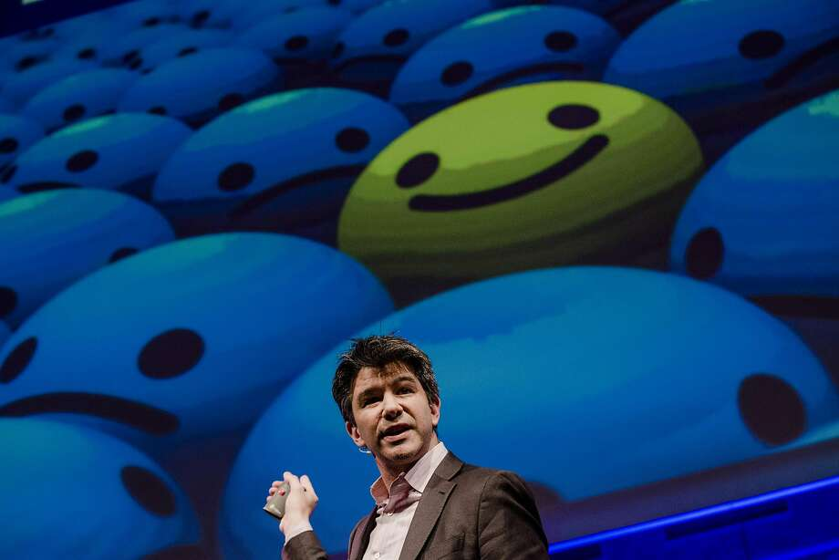 """Travis Kalanick, then chief executive officer of Uber Technologies Inc., speaks during the opening of """"Startup Fest"""" event in Amsterdam in 2016. He stepped down as CEO late Tuesday evening. Photo: Marlene Awaad, Bloomberg"""
