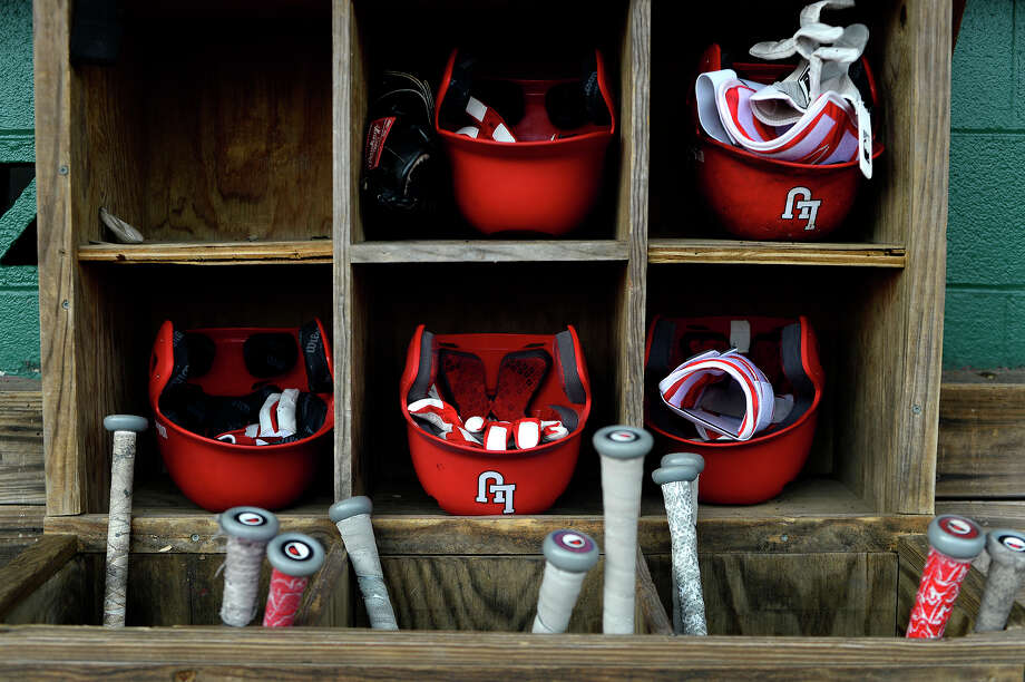 Batting helmets and bats in the dugout during Lamar's first baseball practice on Friday.  Photo taken Friday 1/27/17 Ryan Pelham/The Enterprise Photo: Ryan Pelham / ©2017 The Beaumont Enterprise/Ryan Pelham