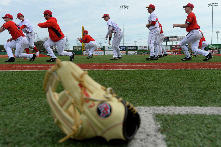 Lamar baseball players stretch before their first practice of the season on Friday.  Photo taken Friday 1/27/17 Ryan Pelham/The Enterprise Photo: Ryan Pelham / ©2017 The Beaumont Enterprise/Ryan Pelham