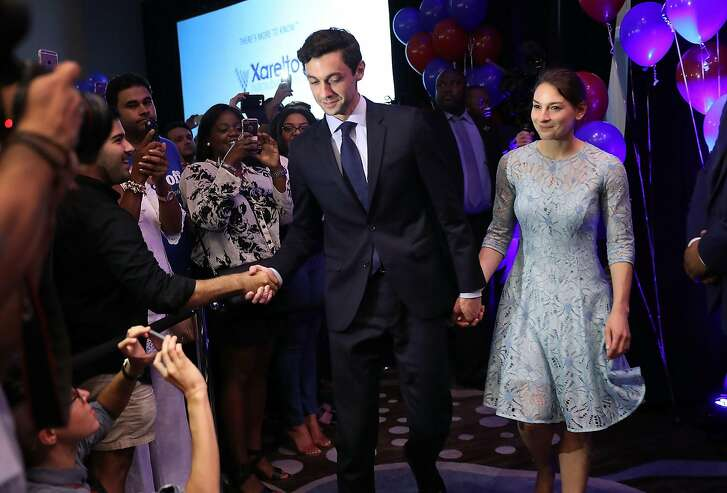 ATLANTA, GA - JUNE 20:  Democratic candidate Jon Ossoff and and his fiancee, Alisha Kramer, arrive as he prepares to give a concession speech speak during his election night party being held at the Westin Atlanta Perimeter North Hotel after returns show him losing the race for Georgia's 6th Congressional District on June 20, 2017 in Atlanta, Georgia. Mr. Ossoff ran in a special election against his Republican challenger Karen Handel in a bid to replace Tom Price, who is now the Secretary of Health and Human Services.  (Photo by Joe Raedle/Getty Images)