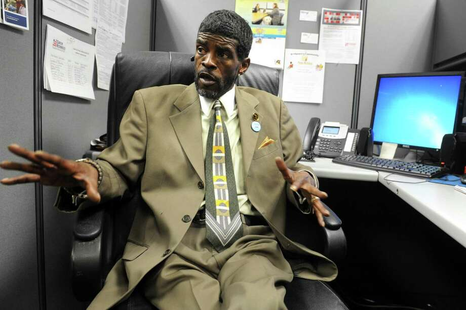 Ernie Newton speaks in his office at Career Resources, in Bridgeport, Conn. where he works to help ex-felons find jobs, June 21, 2017. Photo: Ned Gerard / Hearst Connecticut Media / Connecticut Post