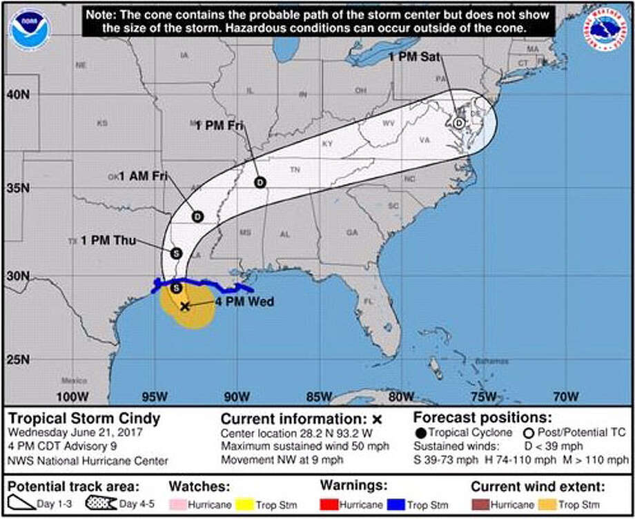 Tropical storm projection