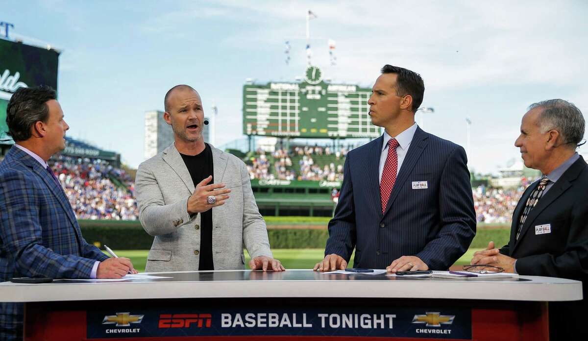 """David Ross, second from left, is keeping busy in """"retirement"""" since going out on top as a player with the 2016 Cubs."""