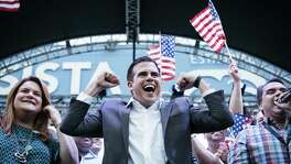 Ricardo Rossello, governor of Puerto Rico, celebrates at the New Progressive Party headquarters in San Juan on June 11 as Puerto Ricans voted overwhelmingly to become America's 51st state. If that happens, five states could lose seats in the U.S. House.