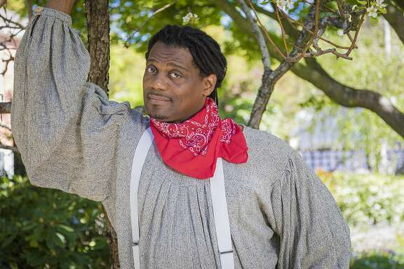 "Dameion Brown as Benedick in Marin Shakespeare Company's ""Much Ado About Nothing."""