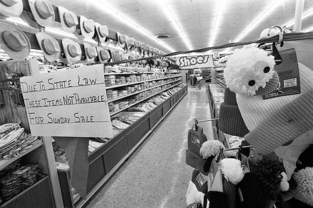 A roped-off area at the Kroger Family Center in Conroe keeps shoppers from items that cannot be sold on Jan. 15, 1984, because of the Texas blue law, which restricted the sale of 42 categories of items - including clothing, linens and kitchenware - on consecutive Saturdays and Sundays.