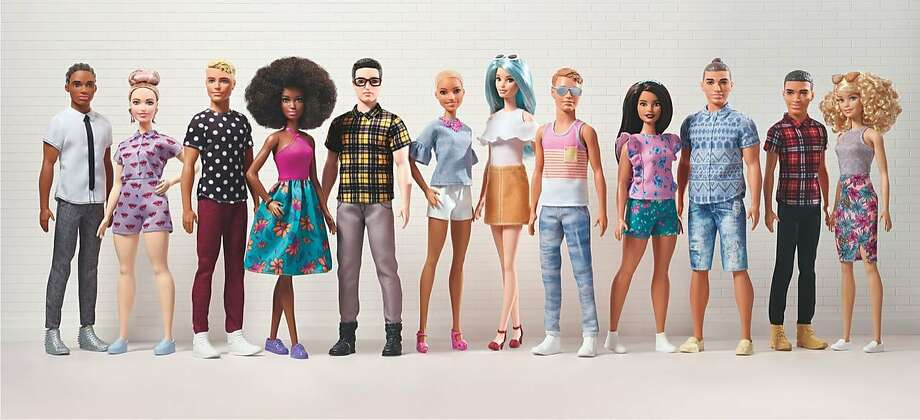 A group photo of the redesigned Ken and Barbie dolls. Photo: Courtesy Mattel