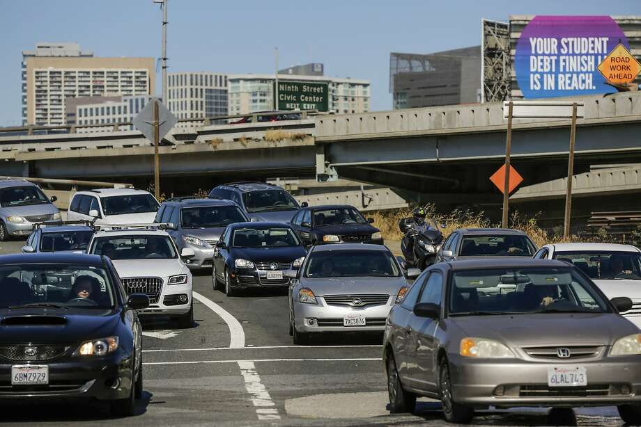In this file photo, vehicles exit Highway CA-101 at 4th and Bryant Streets in San Francisco on June 18, 2017.  Photo: Gabrielle Lurie, Associated Press