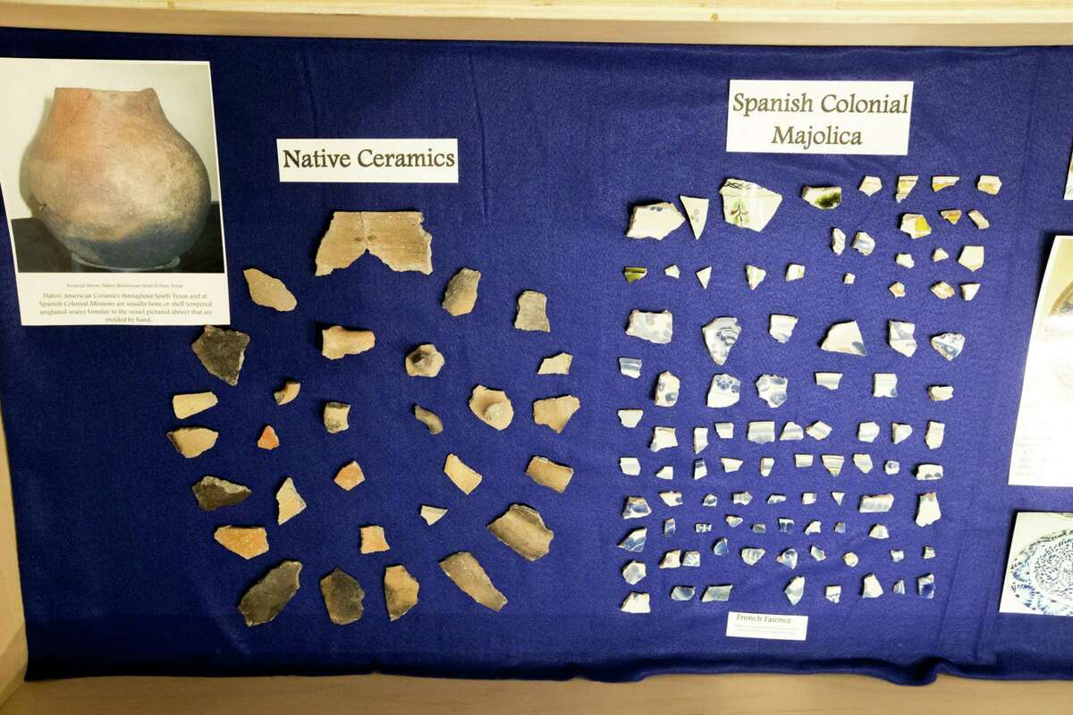 Artifacts from the probable first site of the Mission San Antonio de Valero and the Plaza de Armas buildings, site of the 1700s presidio, are shown at a 2015 news conference. Both the mission and the presidio were founded along San Pedro Creek.