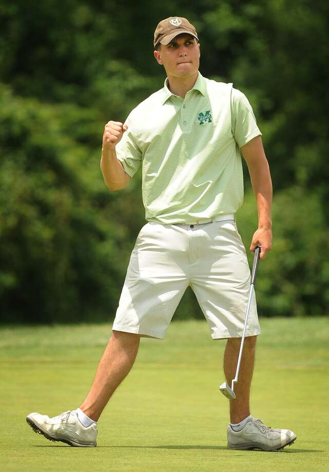 Preston Shortell, of Oxford, celebrates a made birdie putt on the 15th hole during match play at the 115th Connecticut Amateur Golf Tournament at Tashua Knolls Golf Course in Trumbull, Conn. on Wednesday, June 21, 2017. Photo: Brian A. Pounds / Hearst Connecticut Media / Connecticut Post