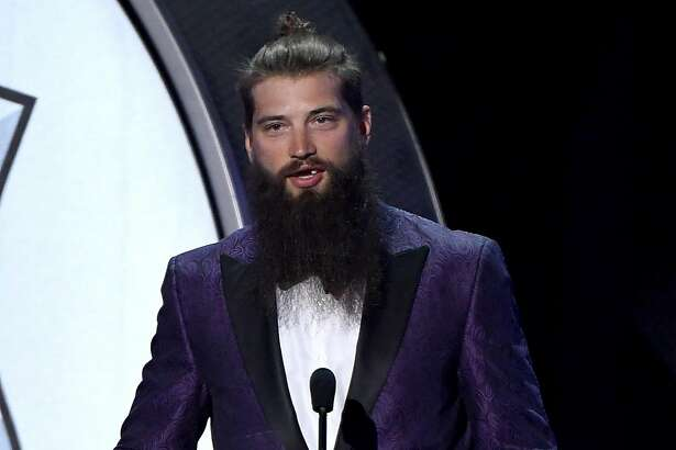 LAS VEGAS, NV - JUNE 21:  Brent Burns of the San Jose Sharks speaks after winning the James Norris Memorial Trophy (Top Defenseman) during the 2017 NHL Awards and Expansion Draft at T-Mobile Arena on June 21, 2017 in Las Vegas, Nevada.  (Photo by Ethan Miller/Getty Images)