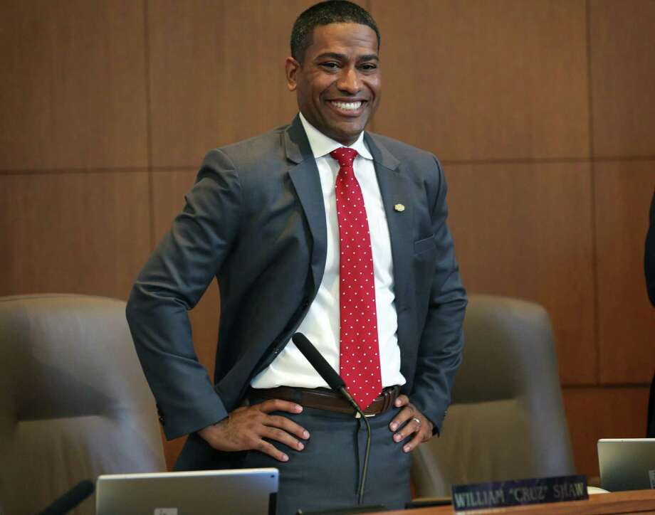 """William """"Cruz"""" Shaw, the new city councilman for district 2, takes his seat at his first city hall meeting after being sworn in on Wednesday, June 21, 2017. Photo: Bob Owen, Staff / San Antonio Express-News / ©2017 San Antonio Express-News"""