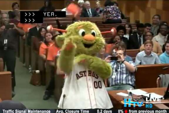 Houston Astros' Orbit recently appeared at city hall to toss t-shirts and urge Houstonians to vote for Astros players for the upcoming MLB All-Star game.