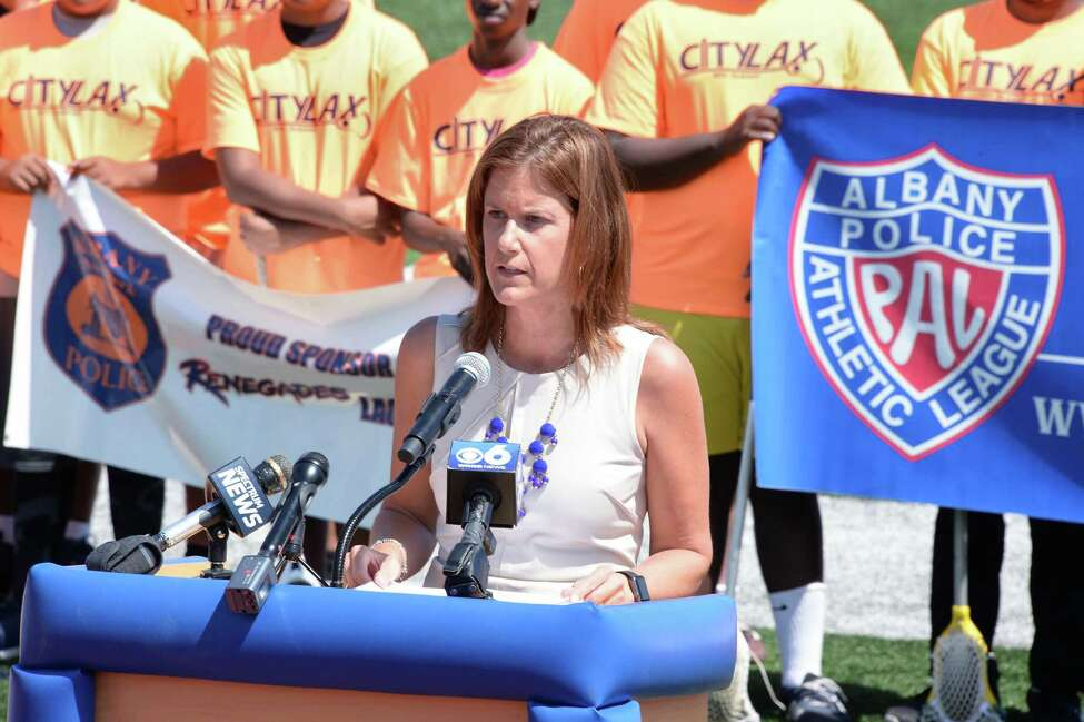 Susie Chase of US Lacrosse speaks during the announcement of the launch of the Lacrosse Communities Project ceremony at Albany High School Wednesday June 21, 2017 in Albany, NY. Albany will be the first of several cities across the country to implement the national lacrosse mentoring program which aims to provide opportunities for urban youth through the early introduction to Lacrosse. (John Carl D'Annibale / Times Union)