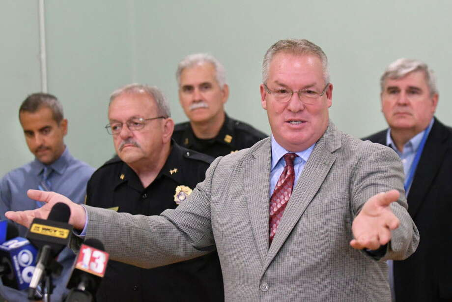 Mayor Shawn Morse, second from right, speaks during a news conference on Tuesday, Sept. 6, 2016, at City Hall in Cohoes, N.Y. Joining Morse, from left are Councilman Randy Koniowka, Asst. Police Chief Tom Ross, Capt. Todd Pucci and President of the Common Council Chris Briggs. They addressed the findings and conclusion of the investigation regarding the fatal pedestrian accident that occurred on June 16th. (Cindy Schultz / Times Union) Photo: Cindy Schultz / Albany Times Union
