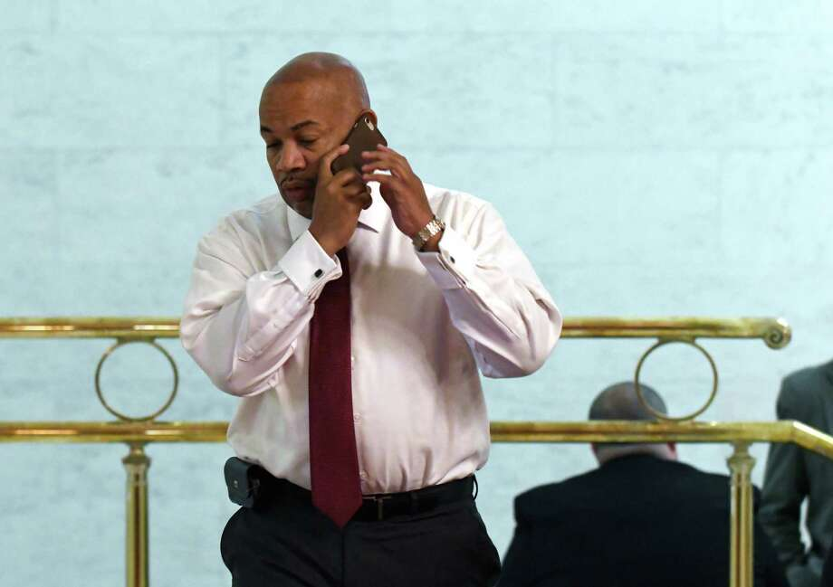 Speaker Carl Heastie talks on his cellphone while walking back to his Assembly office on Wednesday, June 21, 2017, at the Capitol in Albany, N.Y. (Will Waldron/Times Union) Photo: Will Waldron / 20040792A