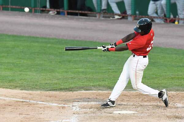 Tri-City ValleyCats' Vicente Sanchez (29) bats against the Lowell Spinners during their home opener minor league baseball game on Wednesday, June 21, 2017, in Troy, N.Y. (Hans Pennink / Special to the Times Union)  ORG XMIT: HP111