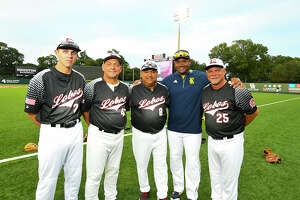 The Houston Area Baseball Coaches Association All-Star Game, a 3-2 victory by the South squad Tuesday at the University of Houston, was the scene of a coaching reunion. Cy Ranch head coach Corey Cephus (second from right) was a longtime Langham Creek assistant prior to taking the Mustangs gig, and Langham Creek head coach Armando Sedeé±o (center) brought Cephus along to coach the North squad for old times' sake, calling it, 'the right thing to do.'