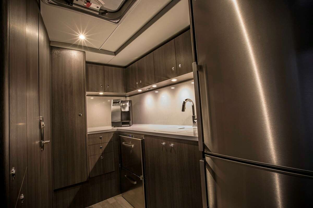 The Vonlane bus includes a small onboard kitchen.