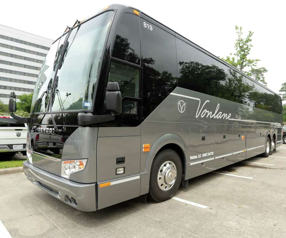 Vonlane's luxury bus Tuesday, April 14, 2015, in Houston, Texas. Vonlane's amenities include an board attendant and galley, free Wi-Fi, complimentary noise canceling headsets, satellite radio and television.