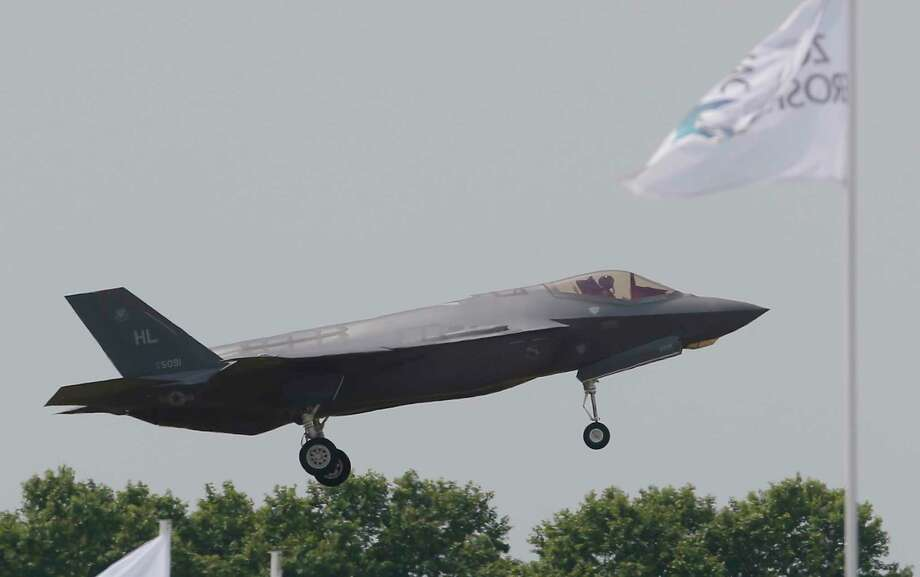 The US Lockheed Martin F-35 Lightning II performs his demonstration flight at Paris Air Show, in Le Bourget, east of Paris, France, Tuesday, June 20, 2017 in Paris. (AP Photo/Michel Euler) Photo: Michel Euler, Associated Press / Copyright 2017 The Associated Press. All rights reserved.