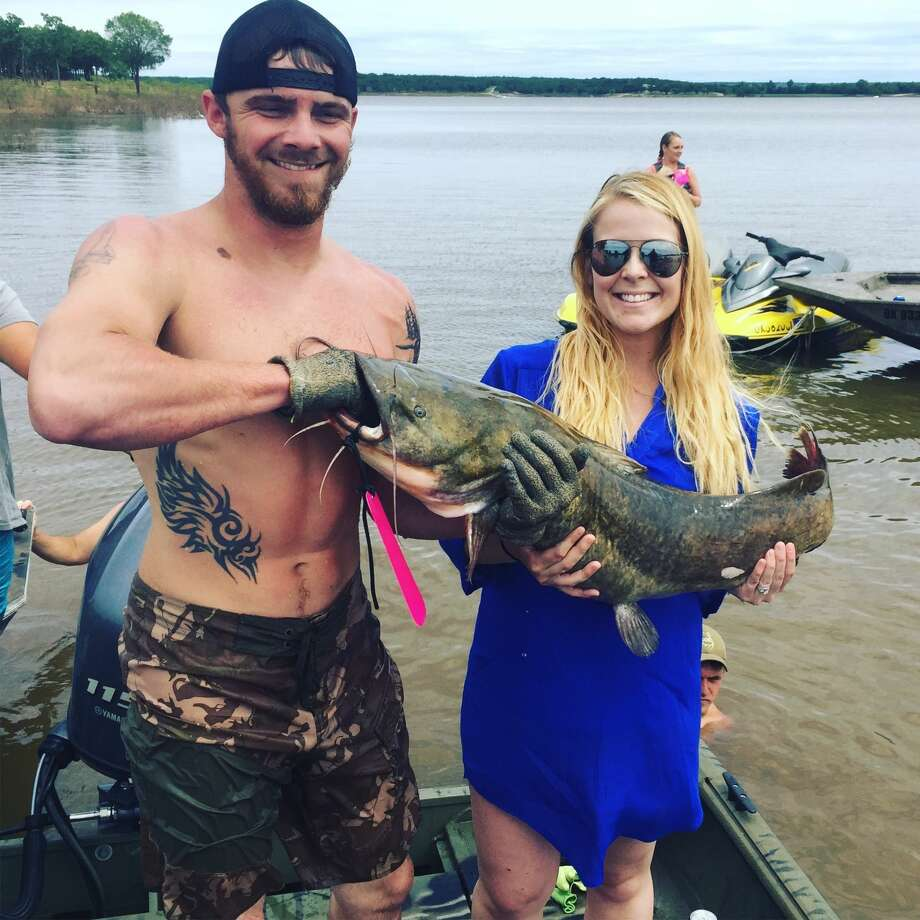Photo oklahoma couple uses live catfish in viral gender for Fishing gender reveal ideas