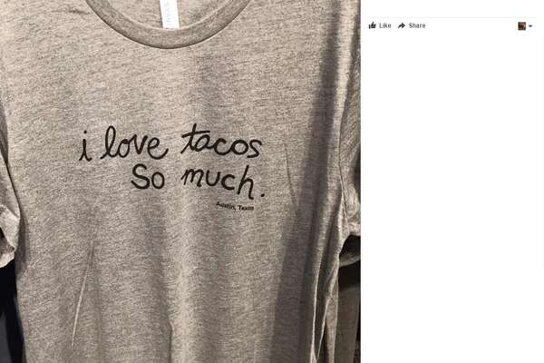 """Former San Antonio Mayor Julian Castro spotted this t-shirt boasting the local saying """"I love tacos so much"""" in Austin on June 21, 2017, he said in a Facebook post."""