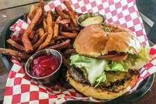 Texas Beef Burger with cheddar, grain mustard and onion bacon jam at Presidio