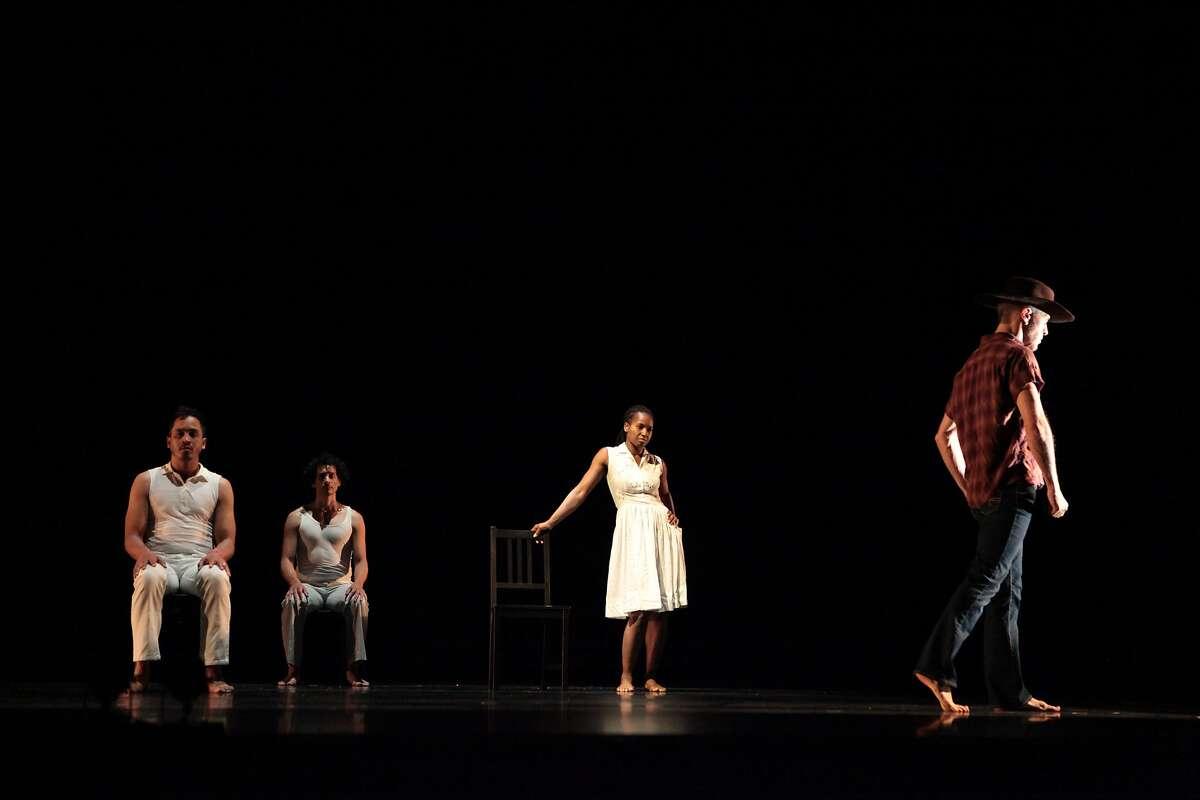 (l to r) Melecio Estrella, Felipe Barrueto-Cabello, Patricia West and James Graham, perform in The Rambler, at Yerba Buena Center for the Arts, through June 24, 2017PHOTOGRAPHER: Yvonne Potra