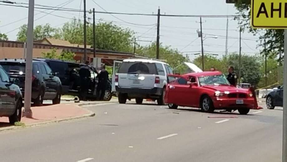 Laredo police investigate the scene of a fatal vehicle collision Thursday afternoon at Clark Boulevard and Cedar Avenue. Photo: Cesar Rodriguez/Laredo Morning Times