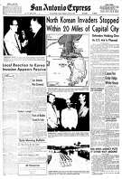 """Front page, June 26, 1950.""""North Korean Invaders Stopped Within 20 Miles of Capital City."""""""