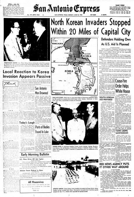 """Front page, June 26, 1950.""""North Korean Invaders Stopped Within 20 Miles of Capital City."""" Photo: From Digitized Microfilm / From Digitized Microfilm"""
