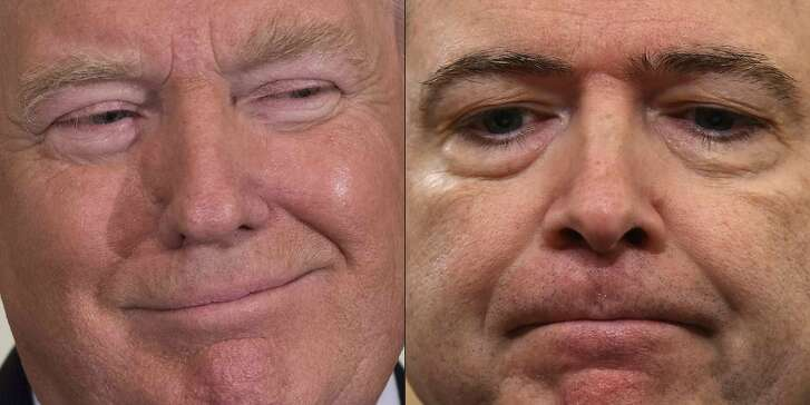 """(FILES)(COMBO) This combination of file pictures created on May 12, 2017 shows a file photo US President Donald Trump in the East Room of the White House in Washington, DC, on May 12, 2017; and FBI Director James Comey on March 20, 2017 on Capitol Hill in Washington, DC.           US President Donald Trump admitted on June 22, 2017 he did not have recordings of his private meetings with fired FBI director James Comey, after fueling speculation for weeks of secret Oval Office tapes.""""With all of the recently reported electronic surveillance, intercepts, unmasking and illegal leaking of information, I have no idea whether there are 'tapes' or recordings of my conversations with James Comey, but I did not make, and do not have, any such recordings,"""" Trump said on Twitter.  / AFP PHOTO / SAUL LOEB AND Nicholas KammSAUL LOEB,NICHOLAS KAMM/AFP/Getty Images"""