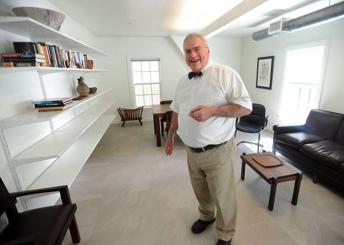 Joseph Migani gives a tour of the common rooms at the new senior housing complex at 38 Columbus Street in Seymour, Conn. on Thursday, June 22, 2017.