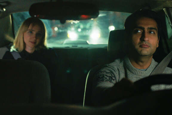 "This image released by Lionsgate shows Kumail Nanjiani, right, and Zoe Kazan in a scene from, ""The Big Sick.""  (Lionsgate via AP)"
