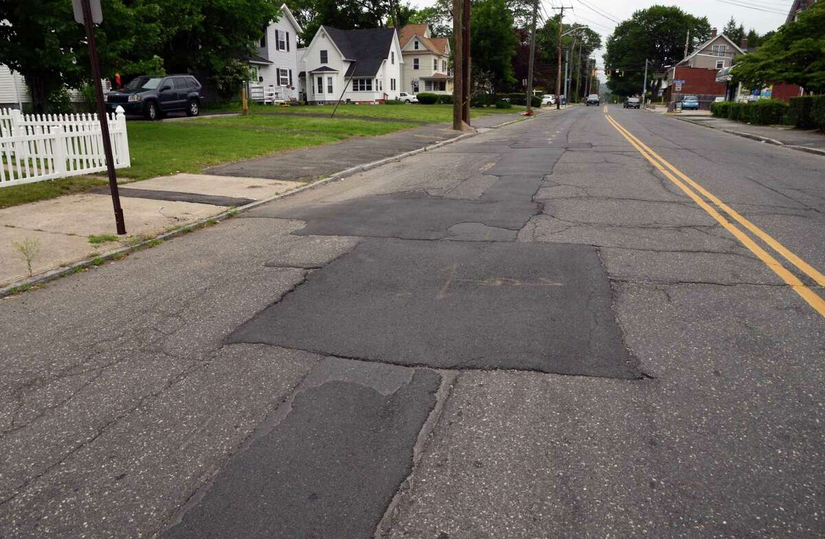 Last fall's installation of new gas lines along Ansonia's Wakelee Avenue give the road a patchwork quilt appearance.