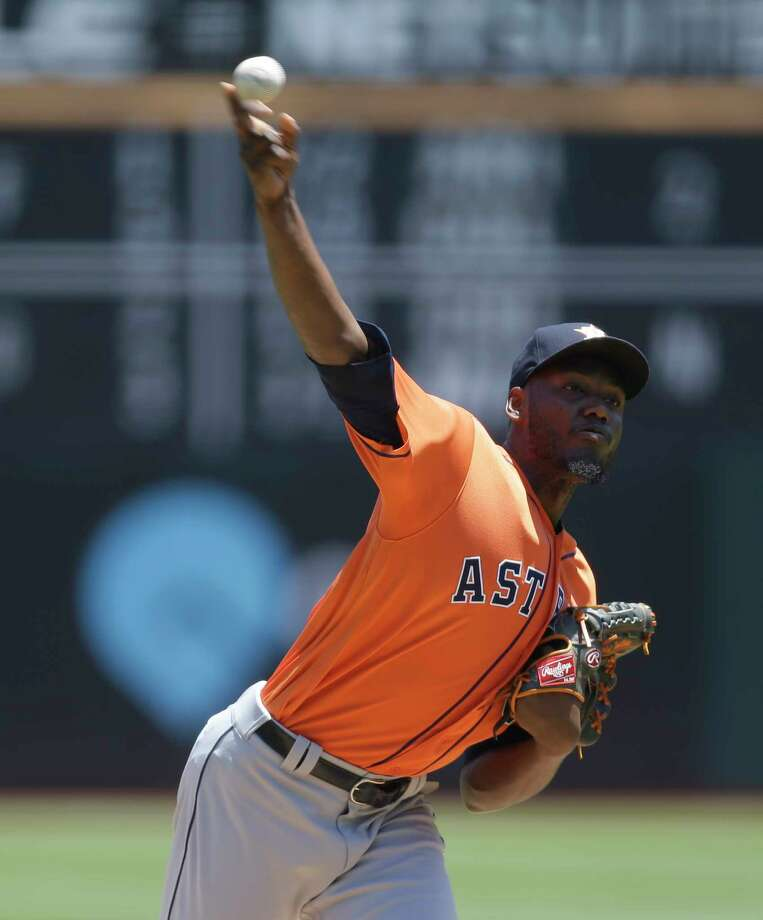 Houston Astros pitcher David Paulino works against the Oakland Athletics in the first inning of a baseball game Thursday, June 22, 2017, in Oakland, Calif. (AP Photo/Ben Margot) Photo: Ben Margot, Associated Press / Copyright 2017 The Associated Press. All rights reserved.