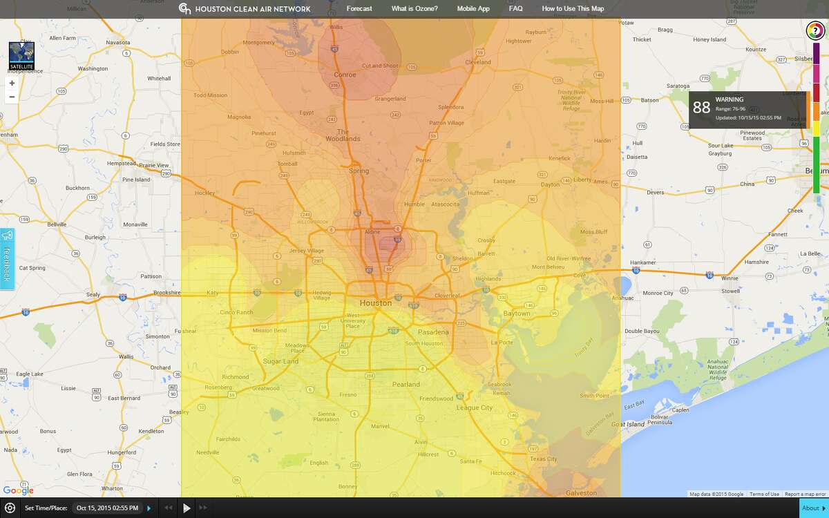 A map shows high ozone levels in Montgomery County on Jan. 10, 2015.